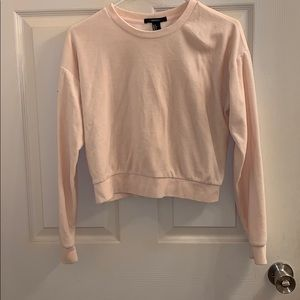 Light pink cropped fuzzy crew neck